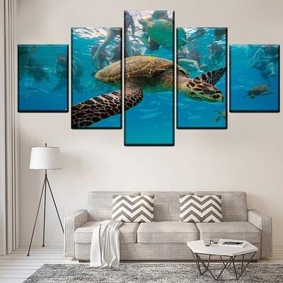 Animal Turtle Aquariums Multi Canvas Print Wall Art