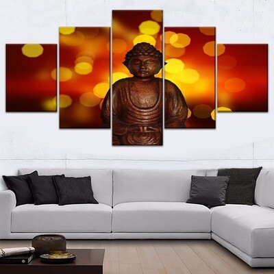 Beautiful Luminous Buddha Statues Multi Canvas Print Wall Art