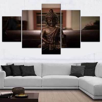 Brown Buddha Statue Multi Canvas Print Wall Art