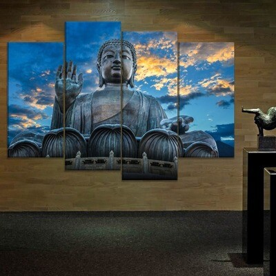 Blue Sky Buddha Statue Multi Canvas Print Wall Art