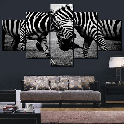 Animal Zebra Multi Canvas Print Wall Art