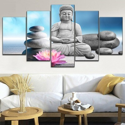 Blue Sky Pink Lotus And Buddha Zen Multi Canvas Print Wall Art
