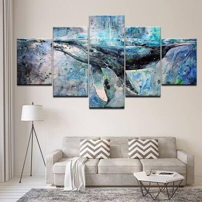 Artistic Whale Multi Canvas Print Wall Art