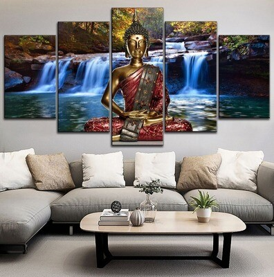 Buddha Statue In Forest Multi Canvas Print Wall Art
