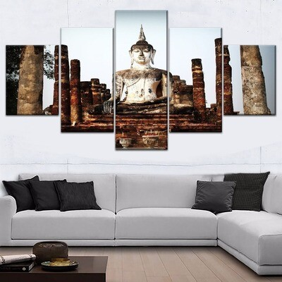 Buddha Statue Ancient Architecture Multi Canvas Print Wall Art