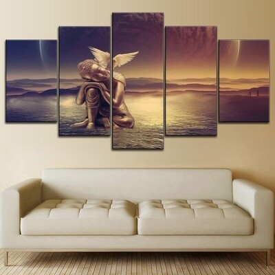 Buddha Statue With Birds Multi Canvas Print Wall Art
