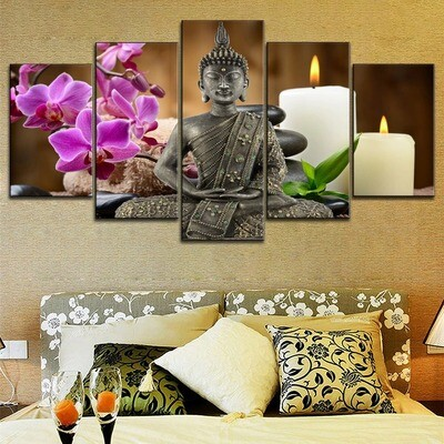 Zen Buddhist Statues Orchid Candle Multi Canvas Print Wall Art