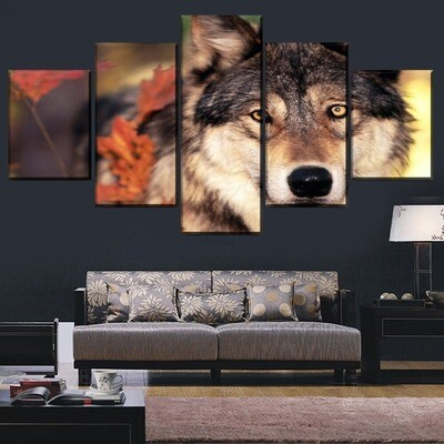 Autumn Leaves And Animal Wolf Multi Canvas Print Wall Art
