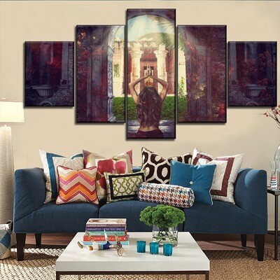 Buddha Temple Woman Worship Prayer Multi Canvas Print Wall Art