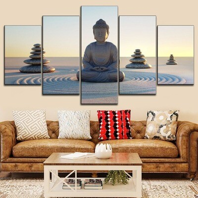 Buddha Zen Meditation Statue Multi Canvas Print Wall Art
