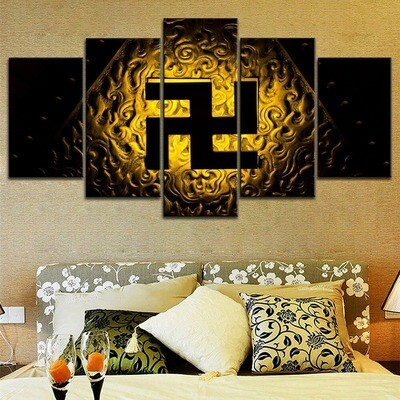 Buddhist Symbol Svastika Asian Multi Canvas Print Wall Art