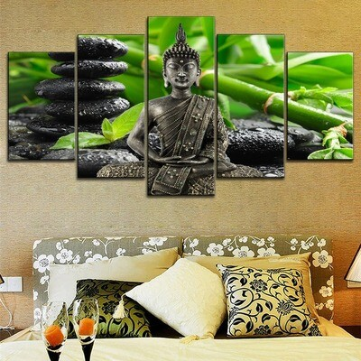 Buddha Zen Green Bamboo Multi Canvas Print Wall Art