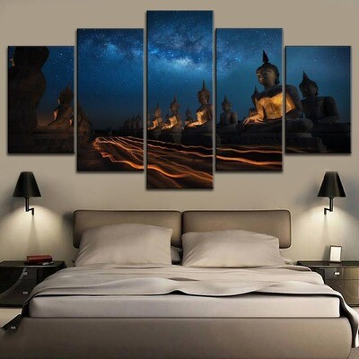 Zen Buddha Statue Poster Multi Canvas Print Wall Art