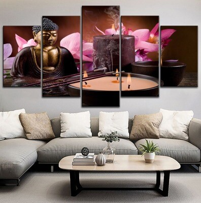 Candle Flower And Buddha Statue Multi Canvas Print Wall Art