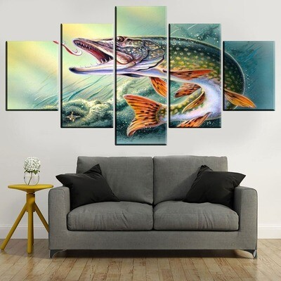 Bass Jumping Out Of Water Multi Canvas Print Wall Art