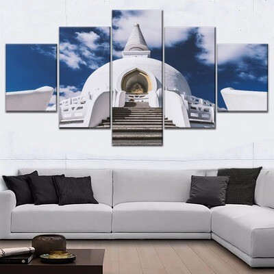 White Artistic Temple Architecture Asia Multi Canvas Print Wall Art