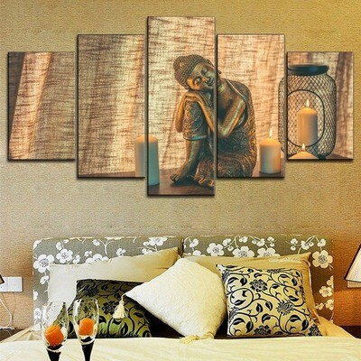 Candle Lovely Sleeping Buddha Statue Multi Canvas Print Wall Art