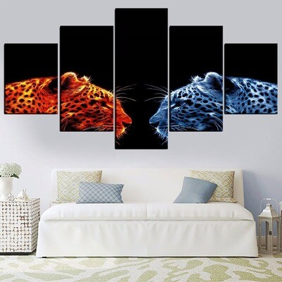 Big Cat Leopard Multi Canvas Print Wall Art