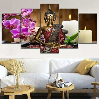 Candles Orchids Buddha Zen Poster Multi Canvas Print Wall Art
