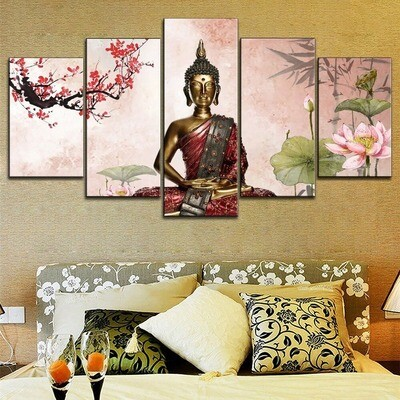 Chinese Plum Blossom Buddha Statues Multi Canvas Print Wall Art