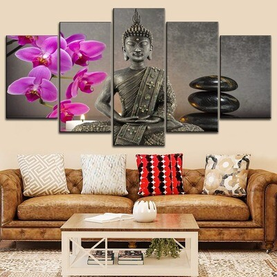 Candles Orchids Buddha Zen Multi Canvas Print Wall Art