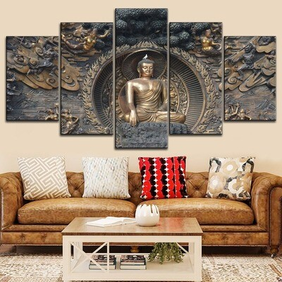 Classic Buddha Multi Canvas Print Wall Art