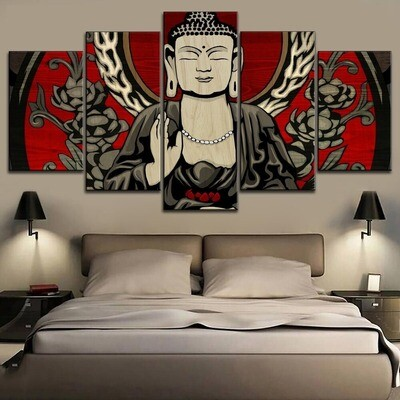 Classic Buddha Statue Multi Canvas Print Wall Art