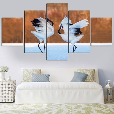 Bird Heron Multi Canvas Print Wall Art