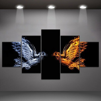 Bird Fire And Water Multi Canvas Print Wall Art