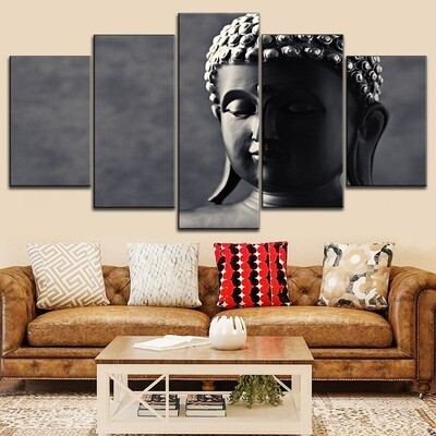 Classic Buddha Statue Abstract Multi Canvas Print Wall Art