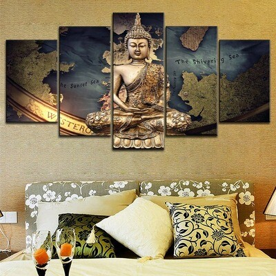 Classic Map And Smile Buddha Zen Multi Canvas Print Wall Art
