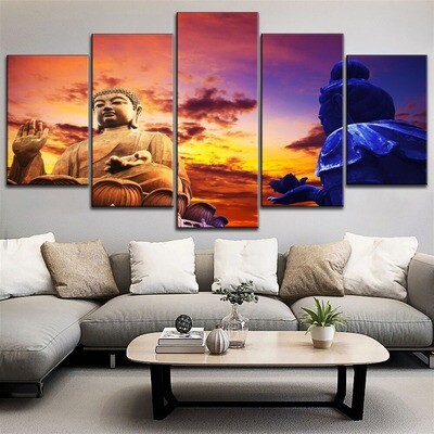 Classic Zen Buddha Statue Multi Canvas Print Wall Art