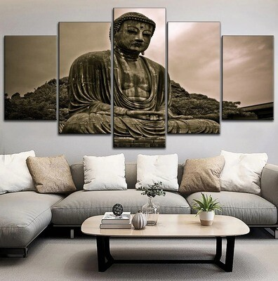 Classic Zen Buddha Statue Picture Multi Canvas Print Wall Art
