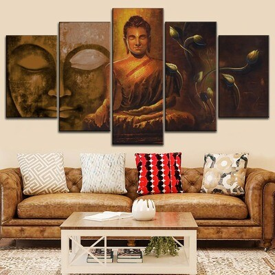 Classic Zen buddha Statue Abstract Multi Canvas Print Wall Art