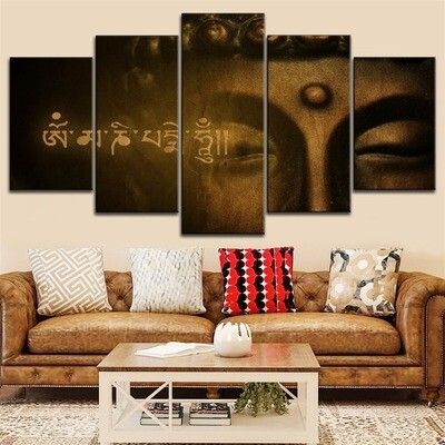Classical Figure of Buddha And Scripture Multi Canvas Print Wall Art