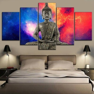 Color Starry Sky Buddha Meditation Multi Canvas Print Wall Art