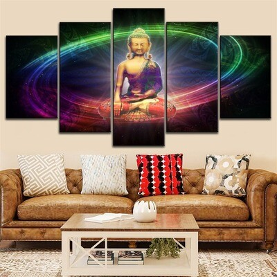 Colored Abstract Buddha Statue Multi Canvas Print Wall Art