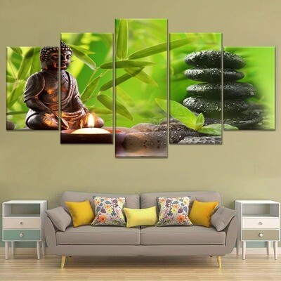 Figure of Buddha And Zen Multi Canvas Print Wall Art