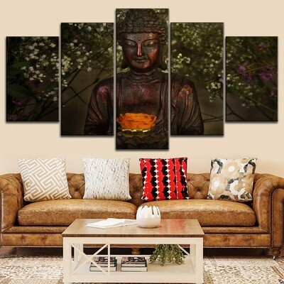 Flower And Buddha Statue Multi Canvas Print Wall Art