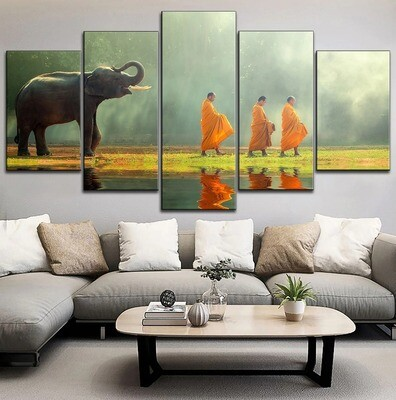 Elephant And Monks Multi Canvas Print Wall Art