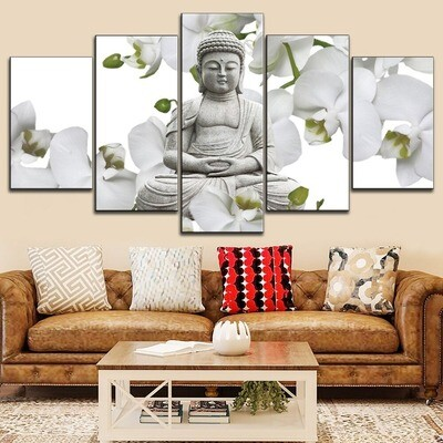 Flower And Buddha Statue Abstract Multi Canvas Print Wall Art