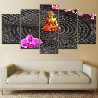 Flower And Sitting Buddha Statue Multi Canvas Print Wall Art
