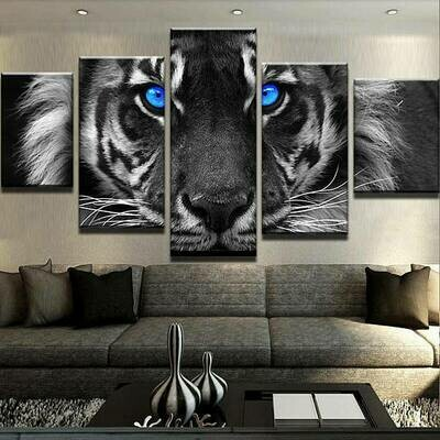 Blue Eyed Tiger Multi Canvas Print Wall Art