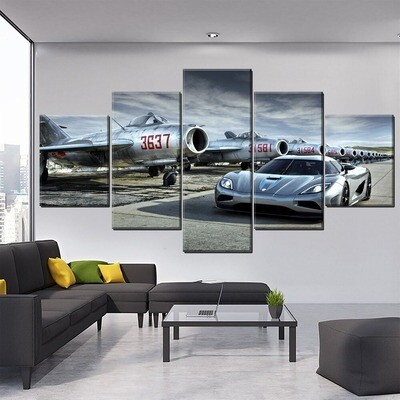 Airplane And Sport Car Multi Canvas Print Wall Art