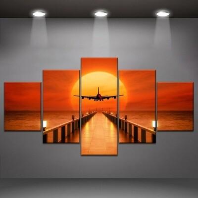 Airplane Sunset Wharf Multi Canvas Print Wall Art