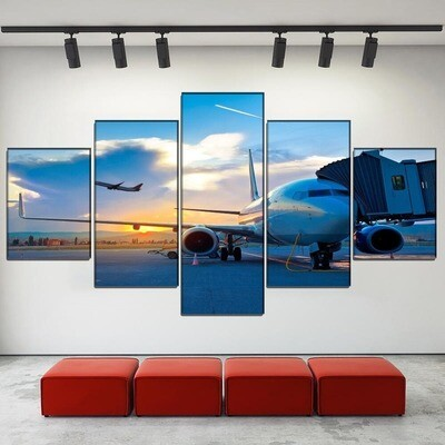 Airport Sunset Aircraft Multi Canvas Print Wall Art