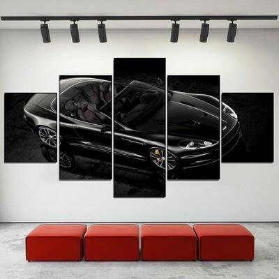 Aston Martin Black Sport Car Multi Canvas Print Wall Art