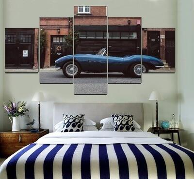 Aston Martin Db2 Blue Sport Car Multi Canvas Print Wall Art