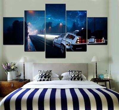 At Night Road Delorean Car Multi Canvas Print Wall Art