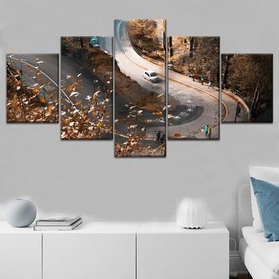 Autumn Road Orange Leaves Fallen Multi Canvas Print Wall Art